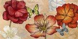 Flowers and Butterflies (Neutral) Art Print