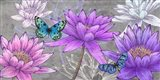 Nympheas and Butterflies (Ash) Art Print