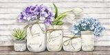 Hydrangeas in Mason Jars Art Print