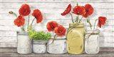 Poppies in Mason Jars Art Print