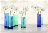 Poppies in crystal vases (Aqua palette) Art Print