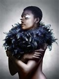 Woman with Feathered Scarf Art Print