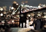 Kissing in a NY Night Art Print
