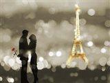 A Date in Paris (BW) Art Print