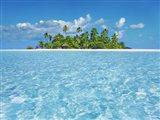 Tropical Lagoon with Palm Island, Maldives Art Print