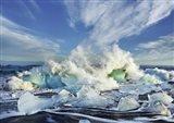 Waves breaking, Iceland Art Print