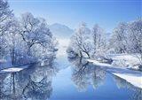 Winter landscape at Loisach, Germany Art Print