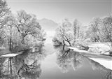 Winter landscape at Loisach, Germany (BW) Art Print