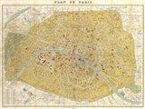 Gilded Map of Paris Art Print