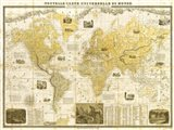 Gilded 1859 Map of the World Art Print