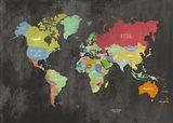 Modern Map of the World (Chalkboard) Art Print