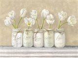 White Tulips in Mason Jars Art Print