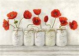 Red Poppies in Mason Jars Art Print