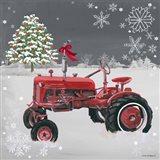 Red Tractor on Gray Art Print