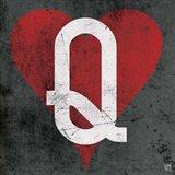 Queen of Hearts Gray Art Print
