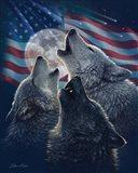 Wolf Trinity Patriotic Art Print