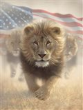 Running Lions America Art Print