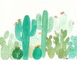 Green Cactus Landscape Art Print