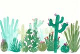 Long Green Cactus Landscape Art Print