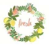 Lemon Wreath Art Print