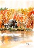 Fall Cabin by the Lake Art Print