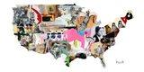 US Map Art Print