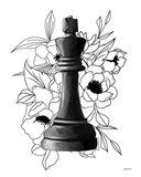 Black King Floral Art Print