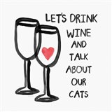 Wine and Cats Art Print
