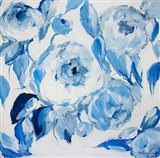 Blue and White Peonies Art Print