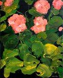 Coral Hydrangeas Art Print