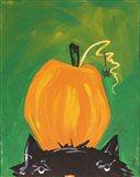Cat and Pumpkin Art Print