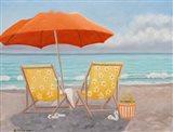 Orange Beach Umbrella Art Print