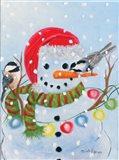 Stringing Lights Snowman Art Print