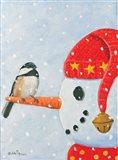Snowman & Chickadee Art Print