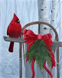 Red Cardinal and Sled Art Print