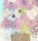Lavender and Lime Flowers in Vase Art Print