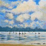 Boat Reflections Off Shore Art Print