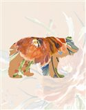 Orange Floral Bear Art Print