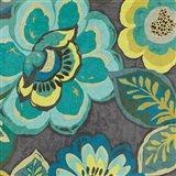 Floral Assortment Teal on Dark Grey Crop I Art Print
