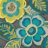 Floral Assortment Teal on Dark Grey Crop III Art Print