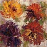Fiery Dahlias I Art Print
