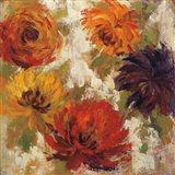 Fiery Dahlias II Art Print