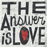 The Answer is Love Grunge Square Art Print