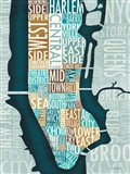Manhattan Map Blue Brown Art Print