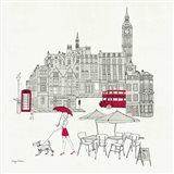 World Cafe I - London Red Art Print