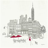 World Cafe III - NYC Red Art Print