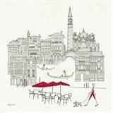World Cafel IV - Venice Red Art Print