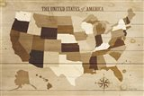 USA Modern Vintage Wood Art Print