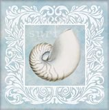 Sandy Shells Blue on Blue Nautilus Art Print