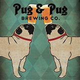Pug and Pug Brewing Square Art Print